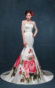 Elegante pintado a mano original Robe De soirée largo sirena vestido