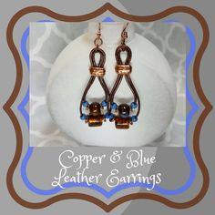Copper, Brown & Blue Leather Earrings, Double Leather Earrings, Porcelain Bead Earrings, Copper Earrings, Gift for Her by SHBeadCreations on Etsy