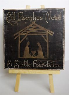 All families need a stable foundation. Great way to put it with the nativity! Christmas Time Is Here, Noel Christmas, Christmas Signs, All Things Christmas, Winter Christmas, Christmas Decorations, Christmas Nativity, Christmas Ideas, Christian Christmas