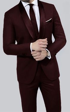 Braveman Runway 2-Piece Slim-Fit Tuxedo in Burgundy