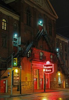 ✯ Massey Hall - Toronto, Canada. Massey Hall is a performing arts theatre in the Garden District of downtown Toronto. The theatre originally was designed to seat 3,500 patrons but, after extensive renovations in the 1940s, now seats up to 2,765. - Wikipedia