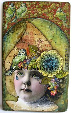altered moleskine, Girl with bird hat