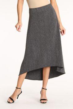 Tweed Skirt with Hi-Lo Hem.