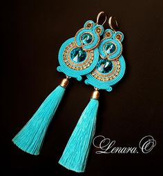Items similar to Long tassel earrings soutache blue wedding earrings hoop oriental jewelry bollywood belly dance very long blue cristal women gift sister on Etsy Beaded Tassel Earrings, Chandelier Earrings, Earrings Handmade, Handmade Jewelry, Soutache Necklace, Diy Necklace, Fashion Earrings, Fashion Jewelry, Expensive Jewelry