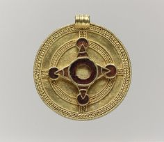 Pendant Date: early 600s Culture: Anglo-Saxon Medium: Gold with garnets