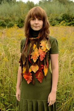 Autumn scarf made for a real autumn fairy. Felted by hand. Perfect for festivals, outdoor Thanksgiving parties and other special occasions.
