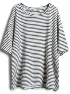 T-Shirt lâche à rayure avec manche courte -gris pictures