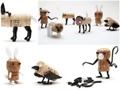 Diy: Cork Stopper Animals #Animals, #Art, #Cork, #Wine