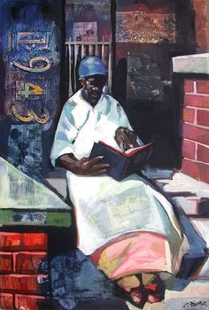 """Bible Study - by Charly """"Carlos"""" Palmer (aka Charly Palmer) (b. June American Fine Artist from Fayette, Alabama; Raised in Milwaukee, Wisconsin. Attended School Art Institute Chicago, receiving Degree from American Academy of Art. People Reading, Girl Reading Book, Reading Art, Woman Reading, Book People, African American Artist, African Art, American Artists, American Women"""