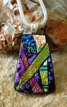 Dichroic Glass Necklace Dichroic Jewelry Fused Glass by GlassCat, $30.00