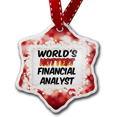 Christmas Ornament Worlds hottest Financial Analyst, red - Neonblond * Click image to review more details.