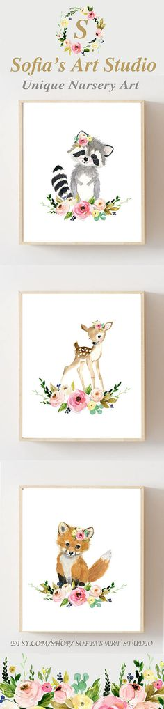 Little forest friends, Forest babies, woodland babies, cute nursery art, woodland animals, floral nursery, nursery ideas, nursery girl, nursery art, nursery decor, nursery flowers, baby animal nursery, cute animal nursery, woodland decor, floral mobile matching art, Nursery woodland Print Set 3 Neutral Nursery Art  Nursery