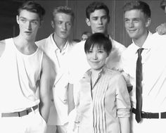 This is how they work it for the still.  Otto Lotz, Max Rendell, Arthur Gosse and Benjamin Eidem with Jimmy Choo's creative director Sandra Choi backstage SS15 (x)