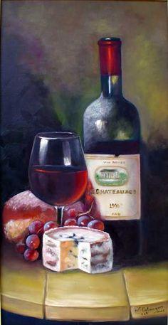 oleo sobre tela queijo e vinho - Pesquisa Google