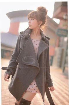 British Style Lapel Collar Double Breasted Waist Belt Wool Blend Gray Coat For Women (GRAY,ONE SIZE) China Wholesale - Sammydress.com