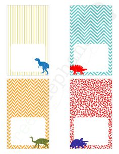 Dinosaur Birthday Party Printable Table Tents / Food Labels / Place Cards