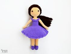 ***THIS IS A CROCHET PATTERN, NOT THE ACTUAL TOY***  English Pattern Only. This pattern uses US Crochet Terms. The file contains a chart to show the conversions to UK Crochet Terms.  Make your own Mia doll with this CROCHET PATTERN. -------------------------------------------------------------------- Mia is a sweet girl. She likes to take long walks on the city, she is a book lover and her favorite color is lilac. She loves rainy days, the smell of fresh-baked cake and to crochet. She…