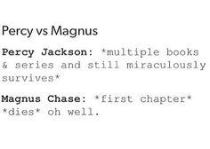la difference c'est que Magnus doit affronter un boss des le debut alors que Percy c'est d'abord occupé des larbins ( ce qui l'a fait progresser dans ses capacité de combats ) .Magnus lui c' est comme si il avait du affronter Cronos pour son tout premier combat