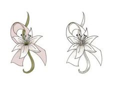 Lily Tattoo Design by South-Paw-Production Cancer Survivor Tattoo, Breast Cancer Tattoos, Cancer Ribbon Tattoos, Cancer Ribbons, Small Lily Tattoo, Lily Flower Tattoos, Small Tattoos, Lilies Tattoo, Tatoo