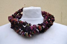 Felted necklace, fibre art, gift, red, white, brown, black, green, pink, brown, felted slices
