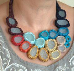 rainbow crochet necklace