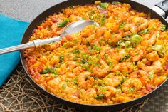 Paella-Style Rice with Shrimp. Visit https://www.blueapron.com/ to receive the ingredients.