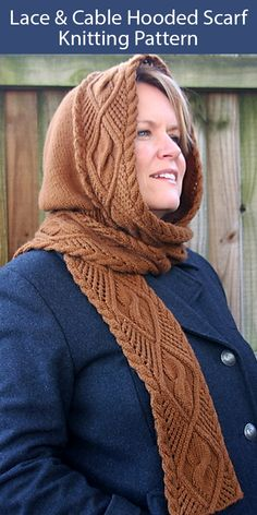 Knitting Pattern for Lace and Cable Hooded Scarf - This luxurious lace and cable scarf has a hood built in. The pattern includes both an easy-to-read chart and written row-by-row instructions. Designed by Jenny Williams Knit Patterns, Knitting Patterns Free, Vintage Knitting, Baby Knitting, Hooded Scarf Pattern, Hood Pattern, Outlander Knitting, Cowl Scarf, Knitted Hats