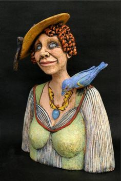 Happy Days Are Here Again, Figurative Ceramic Sculpture by Pamela Day