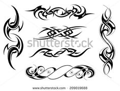 Set of tribal tattoo designs - stock vector