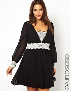 ASOS CURVE - Exclusive Skater Dress With Lace Applique - Awwww...so sweet!  Love the classic black and white, and how the lace is defining her waist