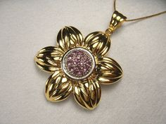 Beautiful Estate 14K Yellow Gold Amethyst Sunflower by ggemsonline