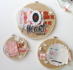 layouts in the hoop by scissorsglue_paper at @Studio_Calico - amazing Valentine's Day decor! I love how embroidery hoops can be altered in so many different ways for all occasions!