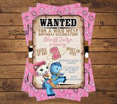 Sheriff Callie Invitation for Girl/Boy by RaynebowShoppe on Etsy Cumple Sheriff Callie, Sheriff Callie Birthday, Cowgirl Birthday, Cowgirl Party, 3rd Birthday Parties, Birthday Fun, Birthday Ideas, Birthday Cake, Wild West Party