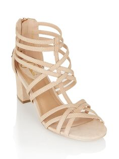 Strappy midi heels Neutral