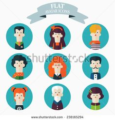 Set of flat people icons. Male and female faces avatars  - stock vector