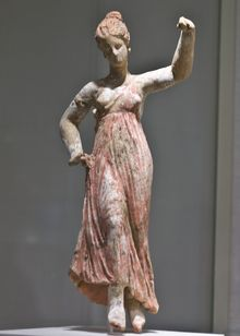 Ancient Greek terracotta statuette of a dancing maenad, 3rd century BC, from Taranto.