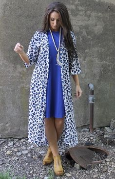 Flora blue leopard long kimono