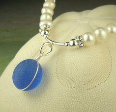Genuine Pearl And Sea Glass Necklace English Sea Glass