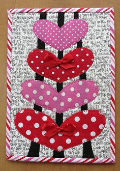 Valentine mug rug--I'd leave out the ribbon bows, as I don't want uneven surfaces where a cup might tip over.