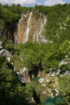 Sequence of Waterfalls at Plitvicka Lakes in Croatia