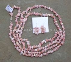 Pink Peruvian Opal Necklace and Earring Set 60 inches Long New Gemstones | eBay