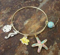The Colors of Starfish Adjustable Bangle Bracelet | Blue Laamb Designs