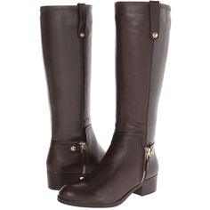 GUESS Tafn Women's Shoes, Brown ($100) ❤ liked on Polyvore featuring shoes, boots, brown, knee-high boots, brown equestrian boots, stacked heel boots, guess? boots, side zipper boots and round toe boots