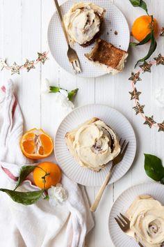 Over-night Eggnog Cinnamon Rolls with Orange Vanilla Glaze