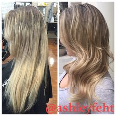 blonde balayage hair medium length in Orlando Baldwin Park by Ashley Feht