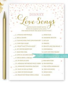 Take the nostalgia up a notch with a printable Disney love song bridal shower quiz to have guests bond over the sweet serenades from their childhood.