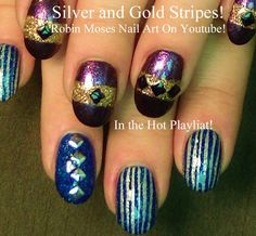 Silver and Gold Stripe Nail Art