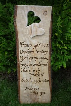 Fairy tale wedding ♥ A contemplative, romantic quote matching the engagement, wedding, wooden wedding …. In the heart I write (burn) for free the first names and the wedding date of the … rnrnSource by ildikobubeneder