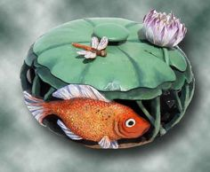 Fish under lily rock art stone painting, stone art, painted Pebble Painting, Pebble Art, Stone Painting, Rock Painting, Stone Crafts, Rock Crafts, Painted Rocks Kids, Painted Pebbles, Painted Stones