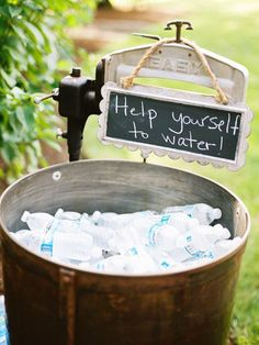 help yourself to water for rustic wedding / http://www.deerpearlflowers.com/perfect-ideas-for-a-rustic-wedding/